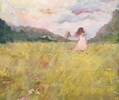 painting-girl-fsky-ield-flowers