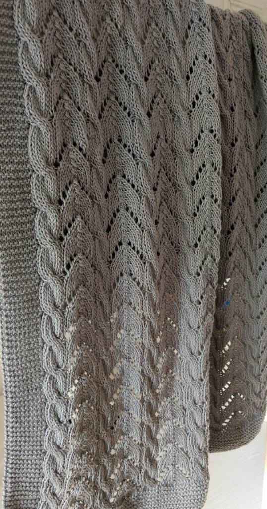 Made To Order Pure Cotton Hand Knit Baby Blanket Grey Baby