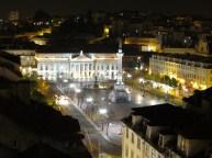 Lisbonne - Centre - Vue depuis l'Ascenseur de Santa Justa sur la placs Rossio de nuit