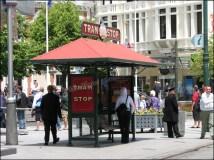 Christchurch, arrêt du tramway