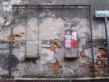 Ile Penang - Georgetown - Street art painting 'Swing with me'