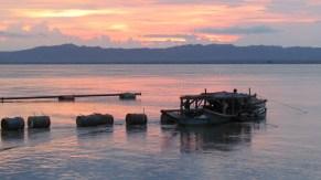 Bagan - Rivière 'Aye Yarwaddy', coucher du soleil