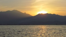 Phayao - Lac artificiel 'Kwan Phayao', coucher du soleil