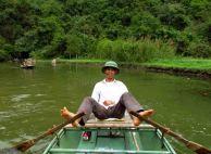 Ninh Binh - Balade sur la rivière, pédaler avec les pieds...