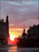Kazan - Au hasard des rues, rue Bauman, coucher du soleil