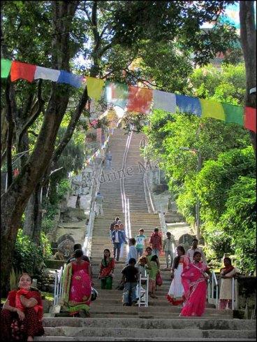 Katmandou - Temple 'Swayambhu', escalier