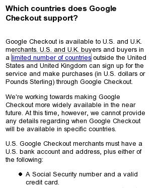 Google Checkout Supported Countries