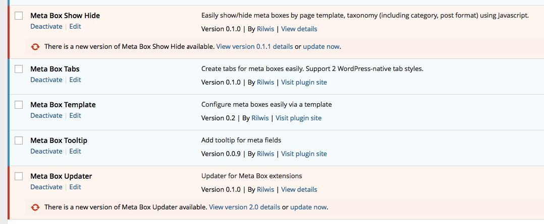 wordpress plugin update notification