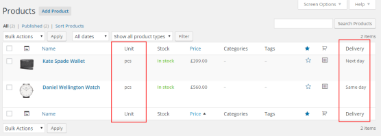 Custom columns for WooCommerce Products