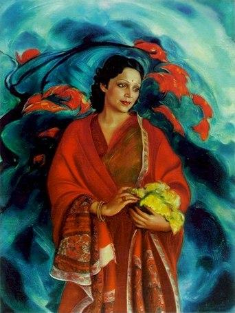 Картина Святослава Рериха. «Девика Рани Рерих». 1951