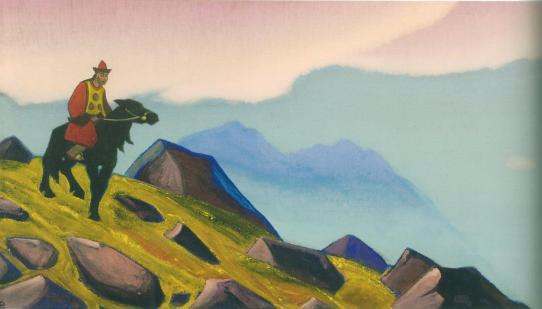 Картина Н.К.Рериха. Чингиз-хан. # 88 [Чингиз-хан (Всадник. Монголия)] 1937
