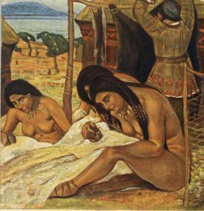 Картина Н.К.Рериха, Задумывают одежду (Каменный век) 1908