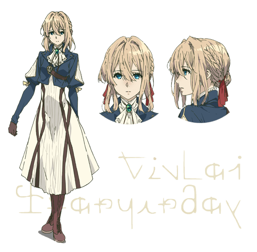 Os personagens de Violet Evergarden da Netflix