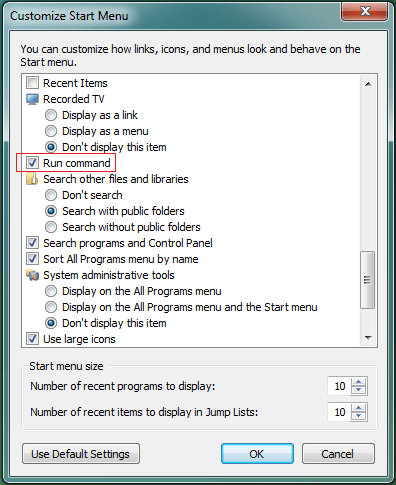 How to show the Run option on Windows 7