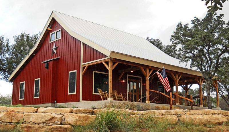Country Barn Home Kit W/ Open Porch (9 Pictures)