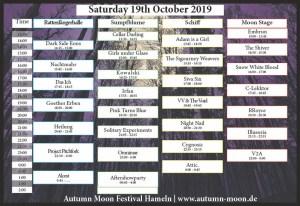 Autumn Moon Timetable Saturday