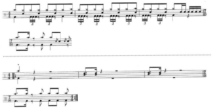 Two excerpts of the drum pattern for the same riff, showing some slight variations.