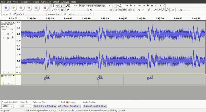 """Marking note onsets from """"Hit The Lights"""" in Audacity."""