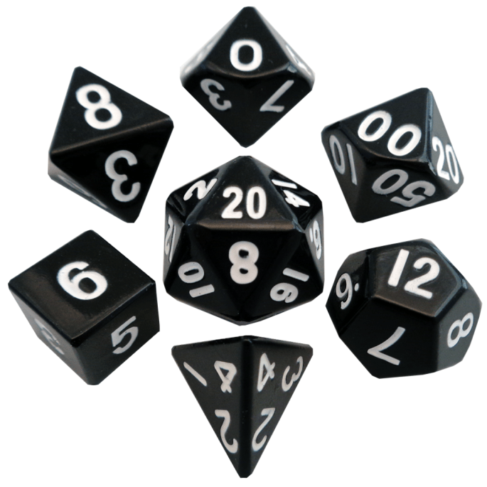 Black with White Numbers 16mm Metal Polyhedral Dice Set