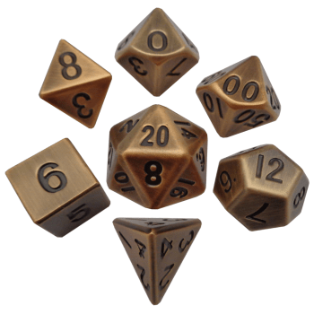 Antique Gold 16mm Metal Polyhedral Dice Set