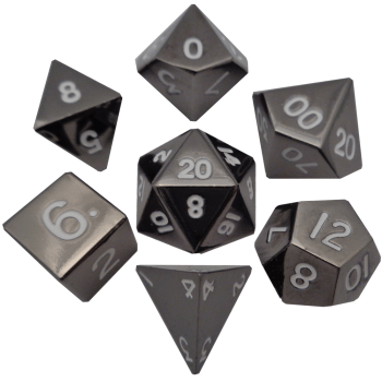 Gray with White Numbers 16mm Metal Polyhedral Dice Set