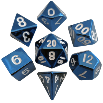 Blue with White Numbers 16mm Metal Polyhedral Dice Set