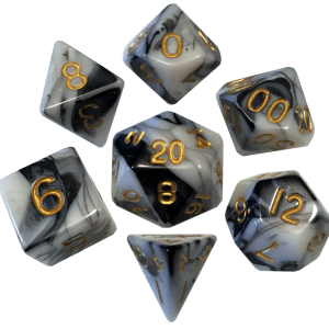 White and Black Marble with Gold Numbers Poly Dice Set