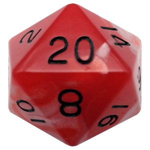 Glow In The Dark Red D20 Mega Acrylic