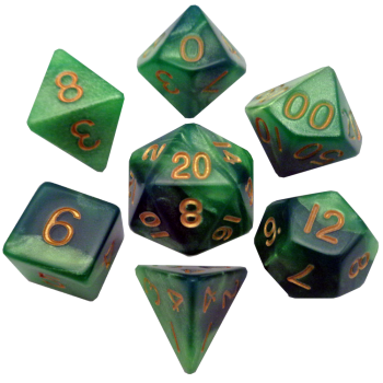 Green and Light Green Poly Dice Set