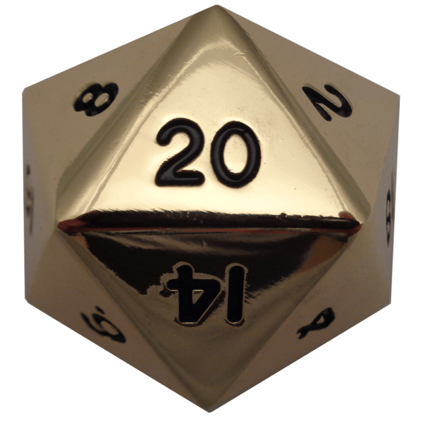 Factory Second Antique Gold Metal D20 Mega