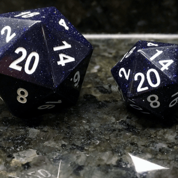 Engraved Blue Sandstone 35mm Mega Gemstone d20