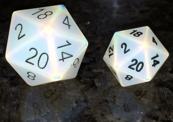 Engraved Opalite 35mm Mega Gemstone d20