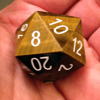 Engraved Tiger's Eye 35mm Mega Gemstone d20