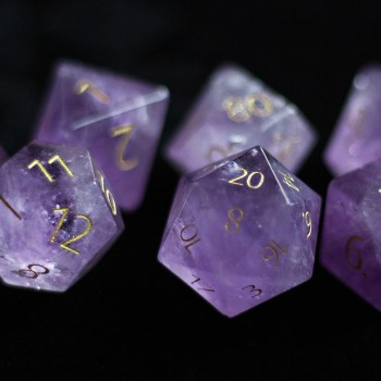 Engraved Amethyst:Full-Sized 16mmPolyhedral Set