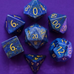 Engraved Lapis Lazuli: Full-Sized 16mm Polyhedral Set