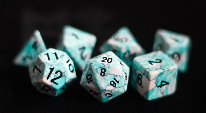 Blue Turquoise (Synthetic):Full-Sized 16mmPolyhedral Set