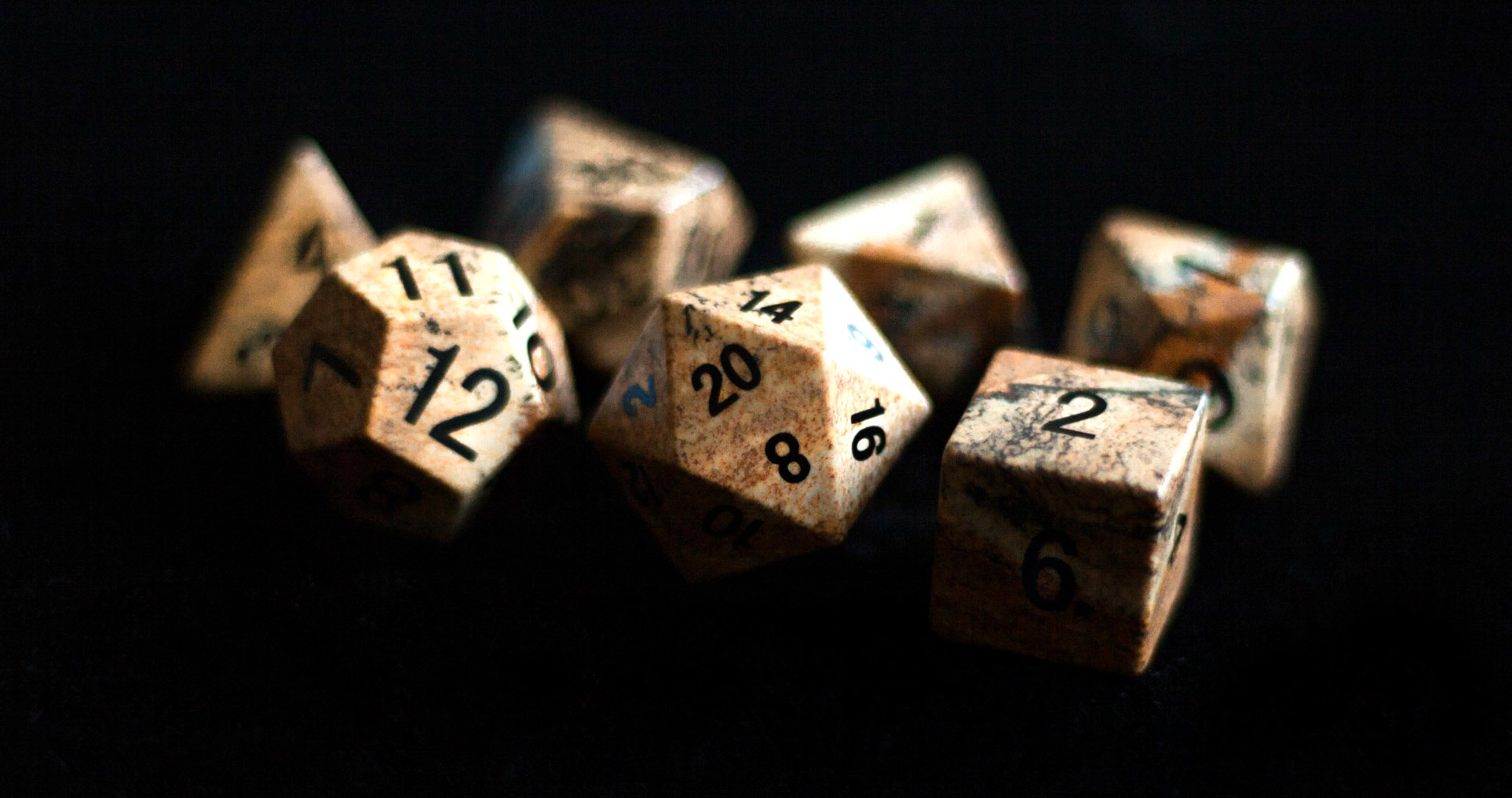 Picture Jasper Full Sized 16mm Polyhedral Dice Set Metallic Dice Games