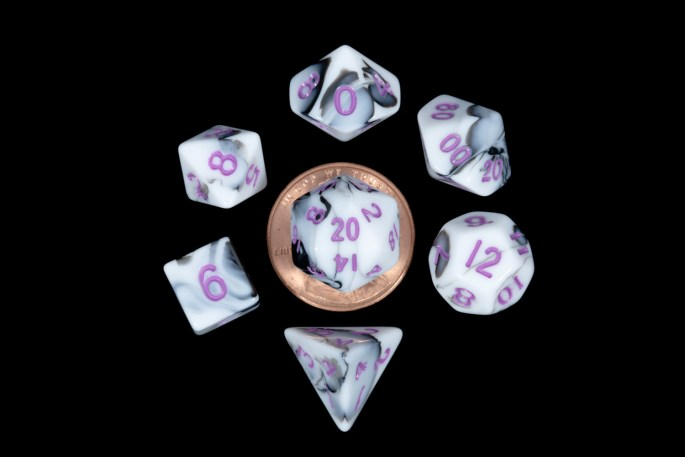 White and Black Marble with Purple Numbers Mini Poly Dice Set