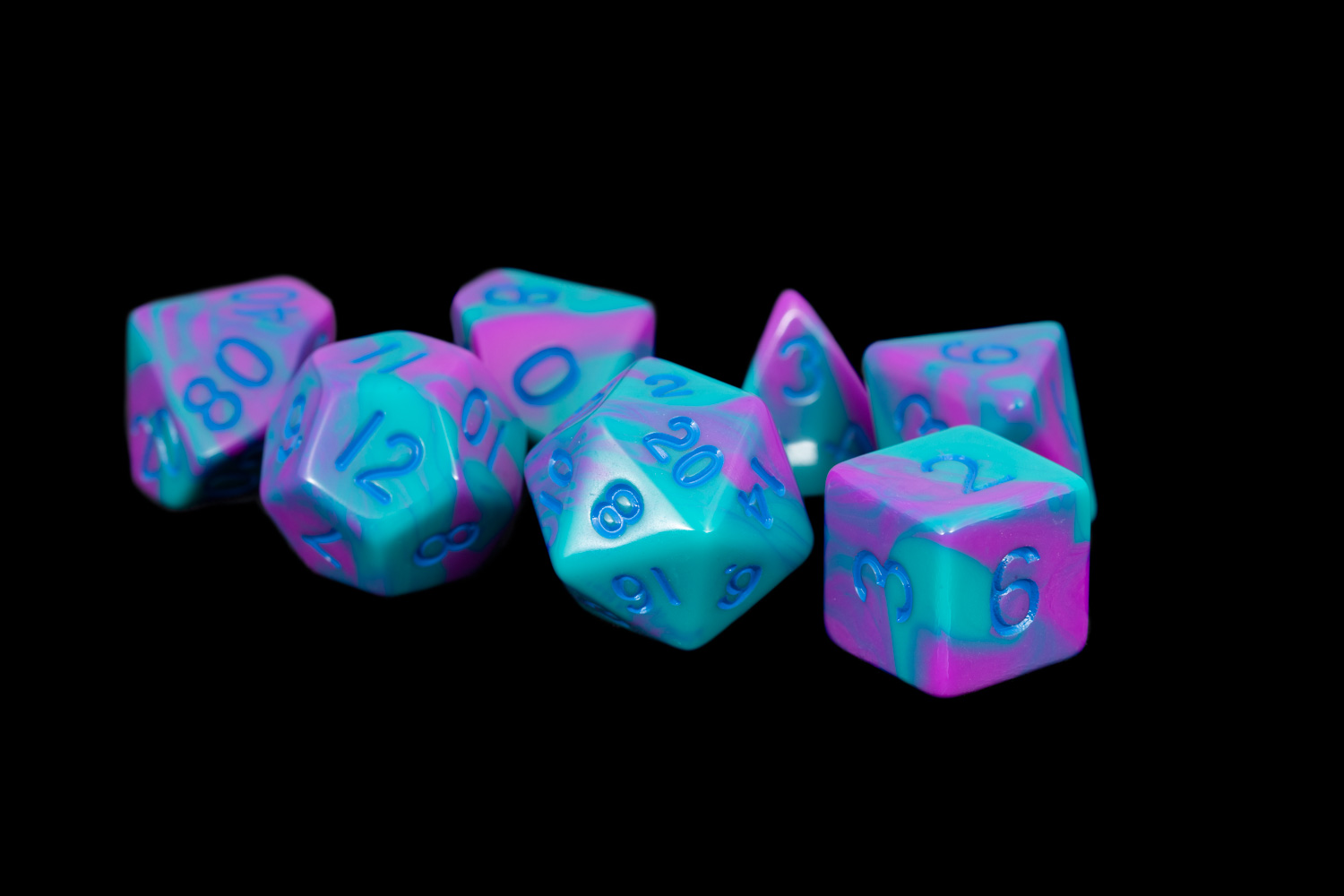 sports shoes 5e69b 7d255 Turquoise and Purple Marble 16mm Poly Dice Set