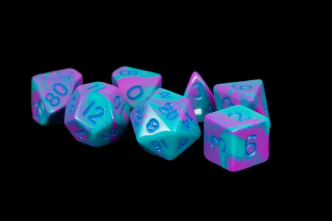 Turquoise and Purple Marble16mm Poly Dice Set