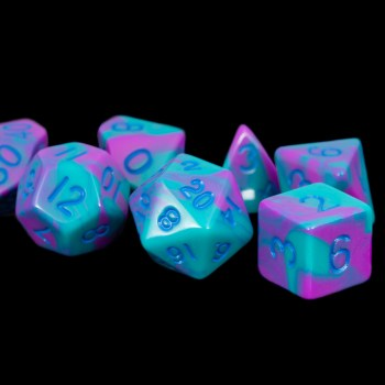 Turquoise and Purple Marble 16mm Poly Dice Set
