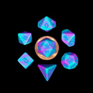 Turquoise and Purple Marble 10mm Mini Poly Dice Set