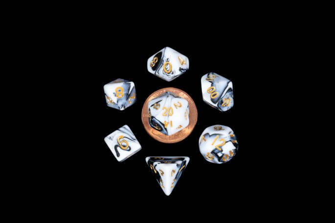 White and Black Marble with Gold Numbers Mini Poly Dice Set