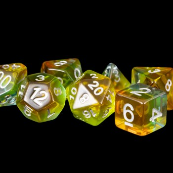 Yellow and Blue (Clear) Marble 16mm Poly Dice Set