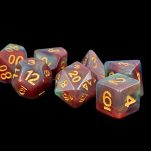 Blue and Red Marble with Gold Numbers16mm Poly Dice Set