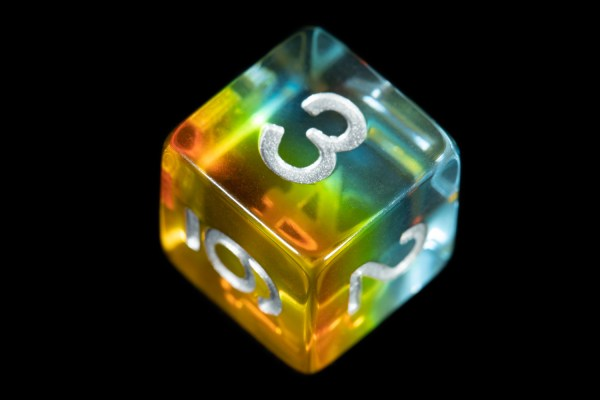 Yellow and Blue (Clear) Marble16mm Poly Dice Set