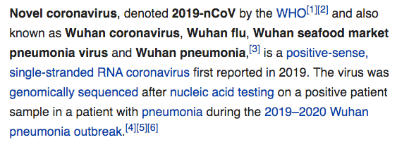 Wikipedia on this Novel coronavirus (2019-nCoV)