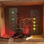 Binary clock prototype from behind