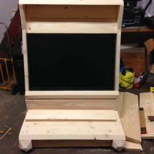 Arcade cabinet: with top attached