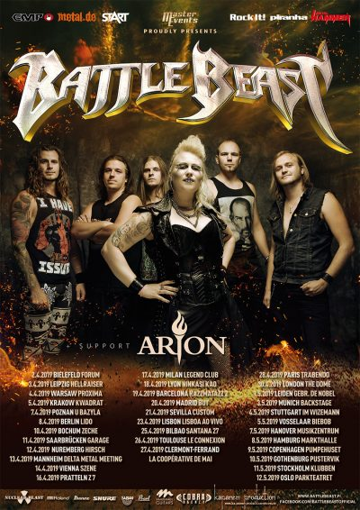 Battle Beast Arion tour poster